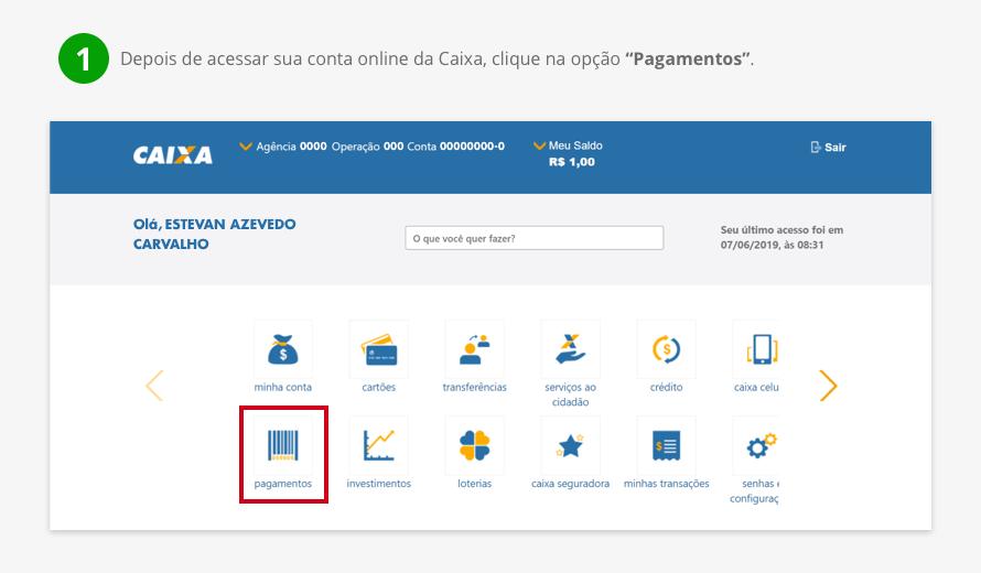 Depois de acessar sua conta online da Caixa, clique na opção 'Pagamentos'.