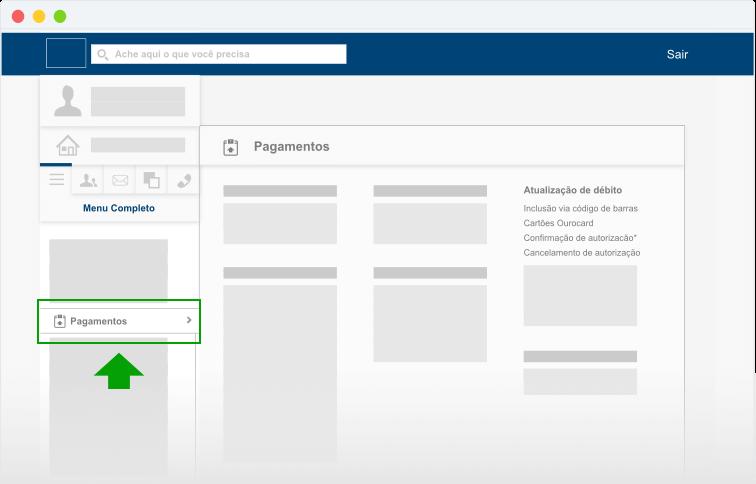 """Na página inicial de sua conta corrente, clique em """"Pagamentos"""", no menu lateral, para abrir novas opções."""