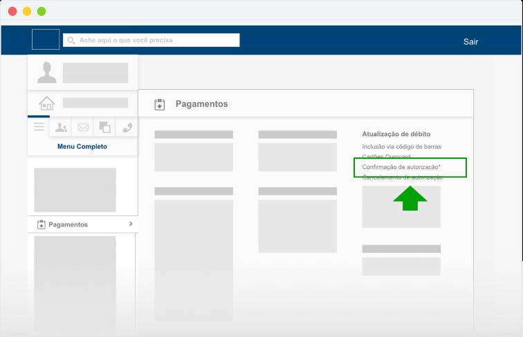 """Localize a coluna de """"Autorização de débito"""" e clique na opção """"Confirmação de autorização""""."""