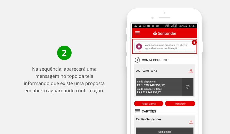 Mensagem de proposta de débito automático no Santander em aberto
