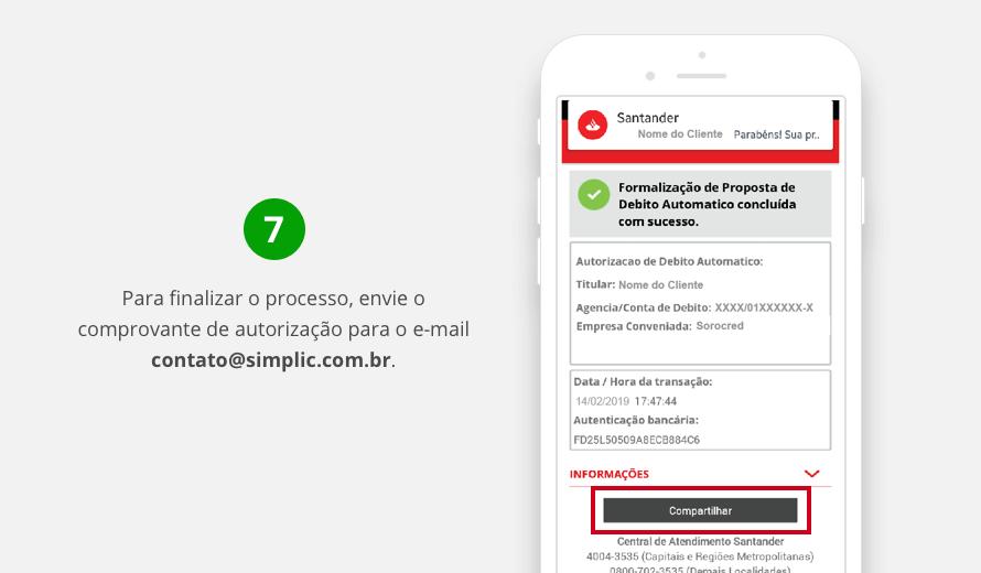 Enviar por e-mail o comprovante de autorização do débito automático