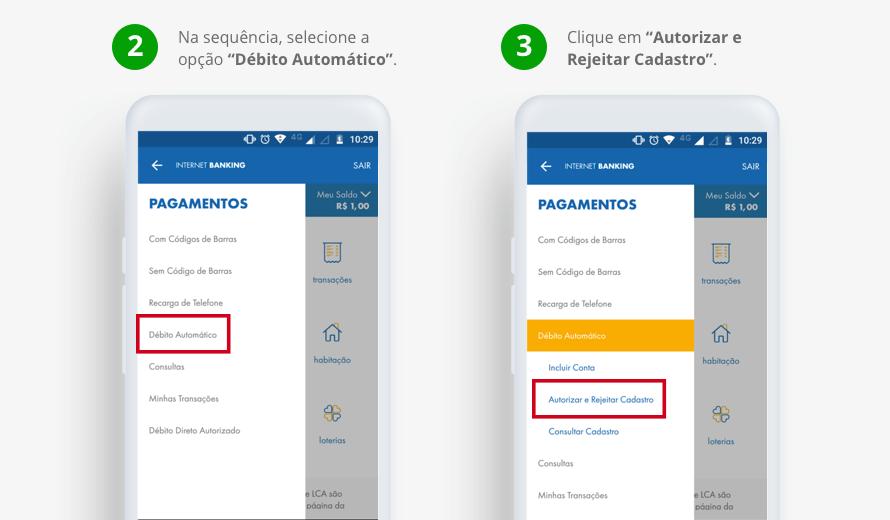 Na sequência, selecione a opção 'Débito Automático'. Clique em 'Autorizar e Rejeitar Cadastro'.