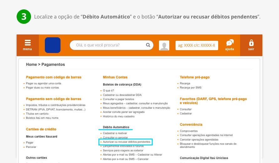 """Localize a opção de """"Débito Automático"""" e o botão """"Autorizar ou recusar débitos pendentes""""."""